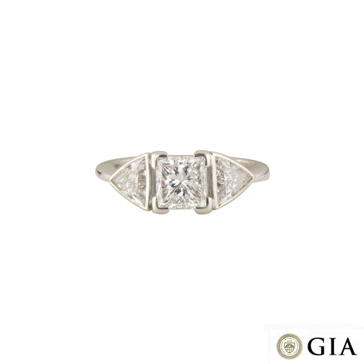 18k White Gold Princess Cut Diamond Ring 1.07ct D/VS2